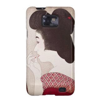 Cool oriental japanese woodprint geisha lady art samsung galaxy s2 cases