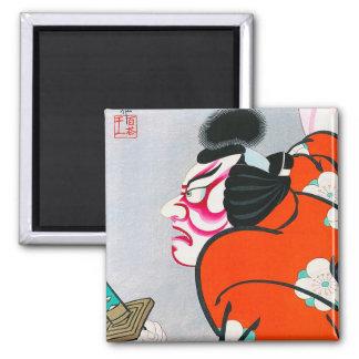 Cool oriental japanese woodprint kabuki samurai 2 inch square magnet