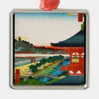 Cool oriental japanese woodprint landscape scenery metal ornament