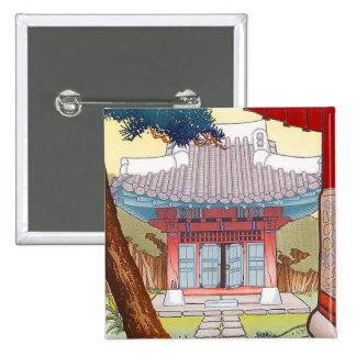 Cool oriental japanese woodprint pagoda art buttons