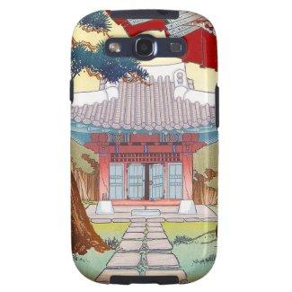 Cool oriental japanese woodprint pagoda art galaxy SIII cases