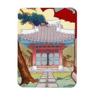 Cool oriental japanese woodprint pagoda art magnet