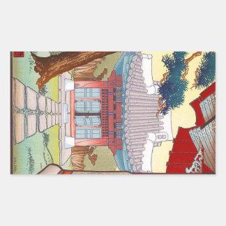 Cool oriental japanese woodprint pagoda art rectangular sticker