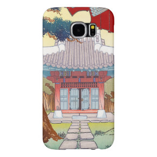 Cool oriental japanese woodprint pagoda art samsung galaxy s6 case