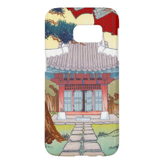 Cool oriental japanese woodprint pagoda art samsung galaxy s7 case