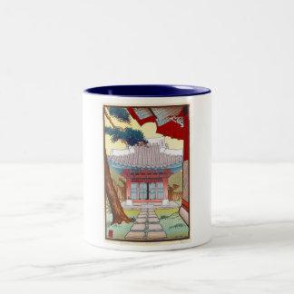 Cool oriental japanese woodprint pagoda art Two-Tone coffee mug