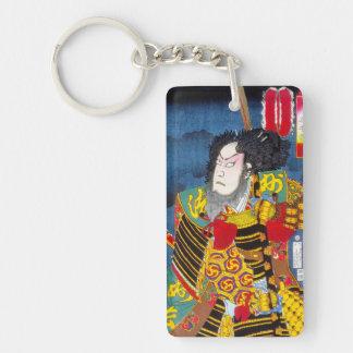 Cool oriental japanese woodprint samurai warrior Double-Sided rectangular acrylic keychain
