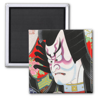 Cool oriental japanese woodprint tadamasa kabuki 2 inch square magnet