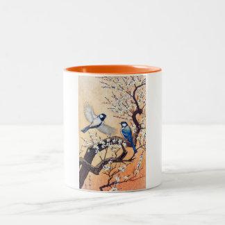 Cool oriental japanese Yoshida birds cherry tree Two-Tone Coffee Mug
