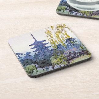 Cool oriental japanese Yoshida lake Shrine Temple Beverage Coaster