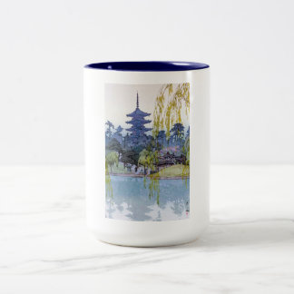 Cool oriental japanese Yoshida lake Shrine Temple Two-Tone Coffee Mug