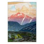 Cool oriental japanese Yoshida Mountain pass art Greeting Card