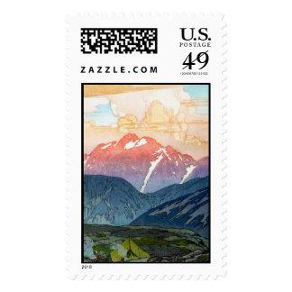 Cool oriental japanese Yoshida Mountain pass art Stamps