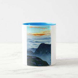 Cool oriental japanese Yoshida mountain scenery Two-Tone Coffee Mug