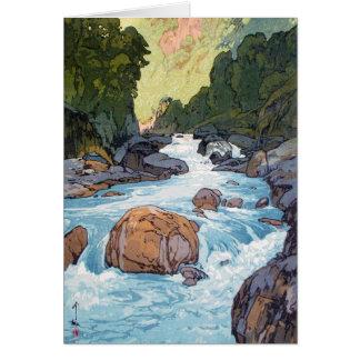 Cool oriental japanese Yoshida river scenery art Greeting Cards
