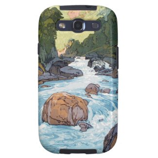 Cool oriental japanese Yoshida river scenery art Samsung Galaxy SIII Cover