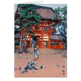Cool oriental japanese Yoshida village scenery art Card