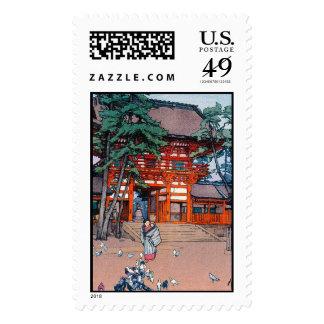 Cool oriental japanese Yoshida village scenery art Stamp