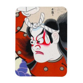 Cool oriental japanesetadamasa kabuki warrior art rectangular photo magnet