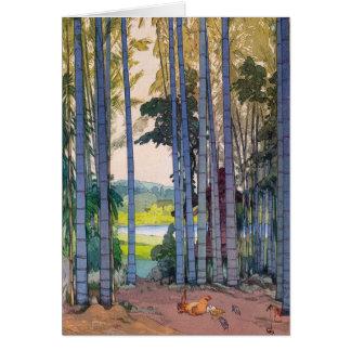 Cool oriental japanse Yoshida Bamboo Forest art Greeting Card