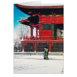 Cool oriental Kawase Hasui winter snow scenery art Card