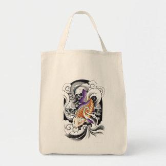 Cool Oriental Koi Carp Skull tattoo Grocery Tote Bag