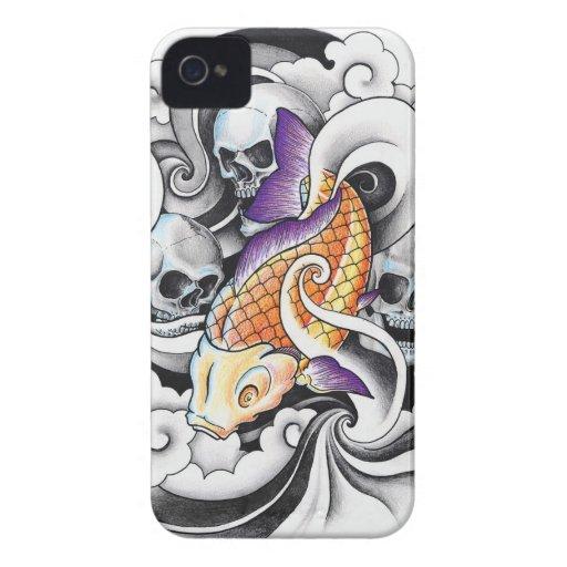 Cool Oriental Koi Carp Skull tattoo iPhone 4 Case-Mate Case