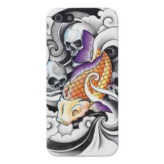 Cool Oriental Koi Carp Skull tattoo Case For iPhone SE/5/5s
