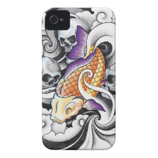 Cool Oriental Koi Carp Skull tattoo Case-Mate iPhone 4 Case
