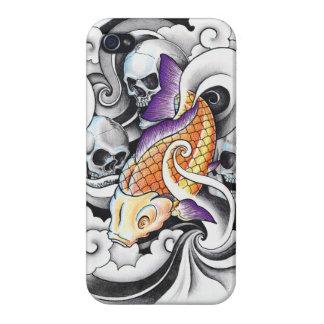 Cool Oriental Koi Carp Skull tattoo Covers For iPhone 4