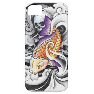 Cool Oriental Koi Carp Skull tattoo iPhone SE/5/5s Case
