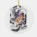 Cool Oriental Koi Carp Skull tattoo Ornament