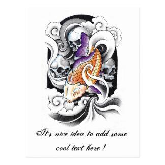 Cool Oriental Koi Carp Skull tattoo Postcards