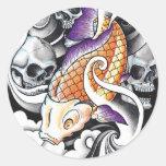 Cool Oriental Koi Carp Skull tattoo Classic Round Sticker