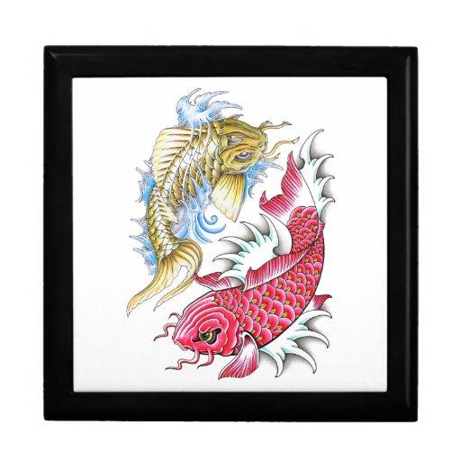 Cool oriental koi fish red gold yin yang tattoo jewelry for Koi fish gifts