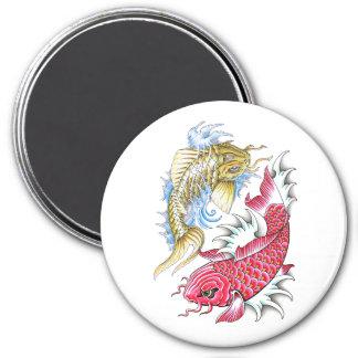 Cool Oriental Koi Fish Red Gold Yin Yang tattoo 3 Inch Round Magnet