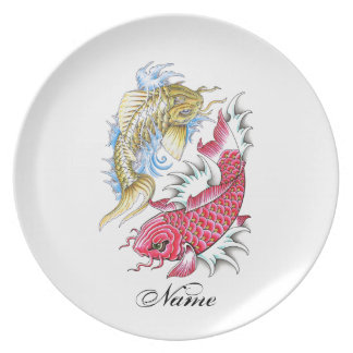 Cool Oriental Koi Fish Red Gold Yin Yang tattoo Melamine Plate