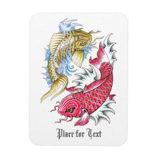 Cool Oriental Koi Fish Red Gold Yin Yang tattoo Rectangular Photo Magnet
