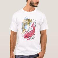 Cool Oriental Koi Fish Red Gold Yin Yang tattoo T-Shirt