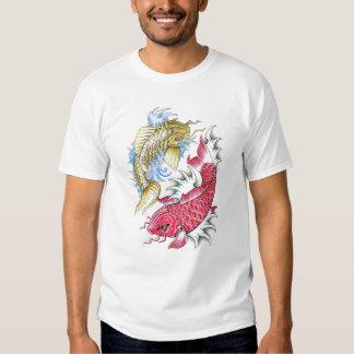 Cool Oriental Koi Fish Red Gold Yin Yang tattoo Tee Shirt