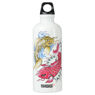 Cool Oriental Koi Fish Red Gold Yin Yang tattoo Water Bottle