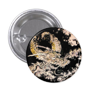 Cool oriental Legendary Ancient Chinese Dragon ink Button