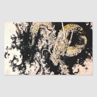Cool oriental Legendary Ancient Chinese Dragon ink Rectangular Sticker