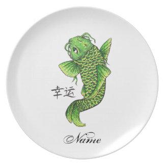 Koi fish plates zazzle for Green koi fish