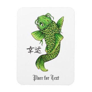 Cool Oriental Lucky Green Koi Fish Carp Rectangular Photo Magnet