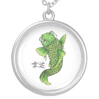 Cool Oriental Lucky Green Koi Fish Carp Round Pendant Necklace