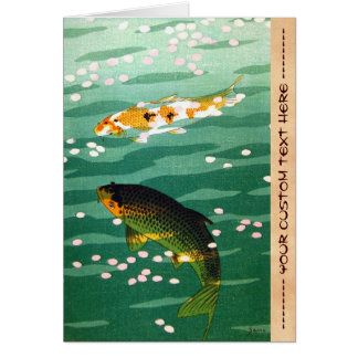Cool oriental lucky koi fishes emerald water art card