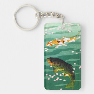 Cool oriental lucky koi fishes emerald water art keychain