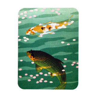 Cool oriental lucky koi fishes emerald water art magnet