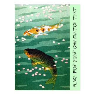 Cool oriental lucky koi fishes emerald water art postcard